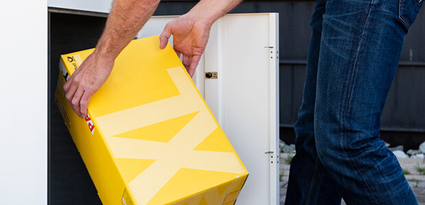 Einladende Kunststoff Haustür zum Energiesparen, Foto: Schüco