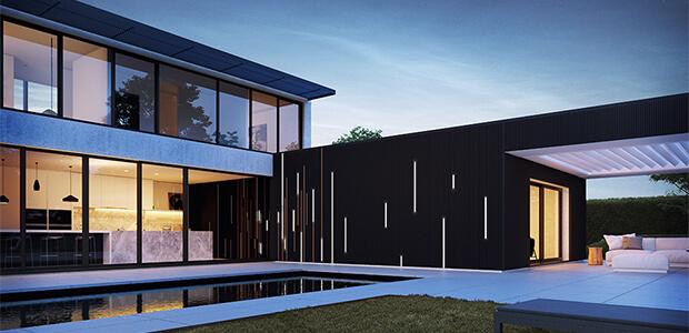Renson LINARTE Aluminium-Fassaden-Verkleidung mit LED-Streifen, Foto: Renson