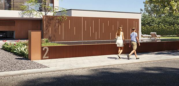 Renson LINARTE Aluminium-Fassaden-Verkleidung mit Zedernholz-Leisten, Foto: Renson